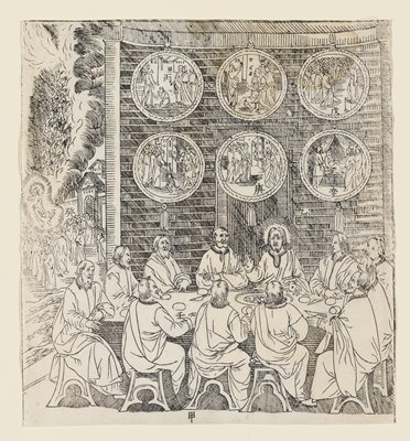 "The Risen Christ Appears to His Disciples, plate from Giulio Aleni's ""Tianzhu jiangsheng zhuxiang jingjie"" (An Illustrated History of the Lord of Heaven Who Became Incarnate in the Flesh), Jinjiang Church, Fujian Province, China"