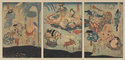 Sea creatures entertain Urashima Taro and Oto Hime in the Dragon Palace