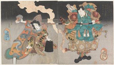 Actors Onoe Kikugorō III as Yorimasa (R) and Iwai Kumesaburō II as the Nue Monster (L)