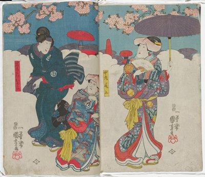 Actors Fujikawa Hanatomo III as Onoe [right], Nakayama Bungorō II as Nakayama [center], and Bandō Shuka I as Ochiyo, Iwafuji's Servant [left]