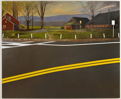 rural setting with several red buildings and hills in the background; curved black paved highway with two yellow stripes at foreground; unframed