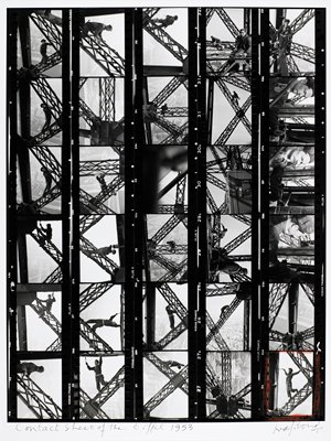 thirty individual images of painters on the Eiffel Tower; image in LRC outlined in red grease pencil