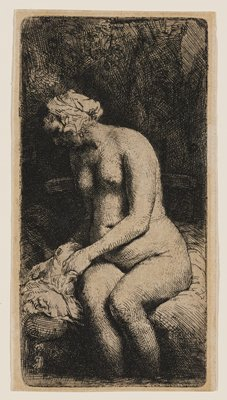 seated nude heavy-set woman, with her upper body turned slightly to PR; woman wears cloth on her head; dark ground