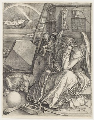 seated angel at right, wearing long dress and crown of laurel branches, holding a book and calipers; woodworking tools at bottom; sleeping dog, LLQ; somber putto seated on a wheel to left of angel; hourglass, bell and scales in URQ; tiny village and landscape with water, ULC