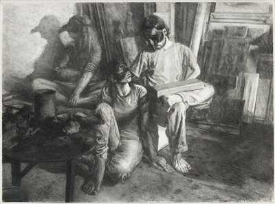 three figures wearing masks; seated man at right holding a rectangular box on his lap, looking down at young man with his hand on young man's shoulder; young man seated on floor at center; woman at left wearing mask with beak, with shadow of her profile behind her; all figures are barefoot; scattered sketchy guidelines (?)--appear to be in khaki-colored felt tip pen (?)