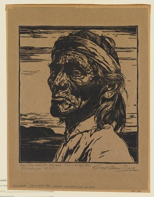 portrait of a wrinkled Native American man with shoulder-length hair wearing a headband, with head turned toward PL