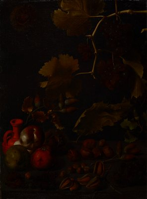 dark image; red jug with long neck and loop handle at left; two green apples and one red apple (tomato?) with a whitish fruit--partially hidden--behind them at left in front of jug; nuts of various sizes and types at bottom center--some on stems; bunches of grapes in lower corners; nuts on stems with leaves at right below center and to right of jug; grapevine in URQ with bunches of grapes; fruit or nut with bristly shell/skin in ULC