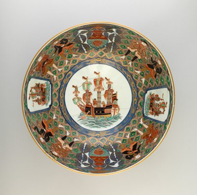 large masted ship with two European figures at center of bowl; pairs of European men in rich brocades alternating with cartouches of smaller ships and decorations against a floral background on insides; peony design alternating with cartouches of European man and boy on outside
