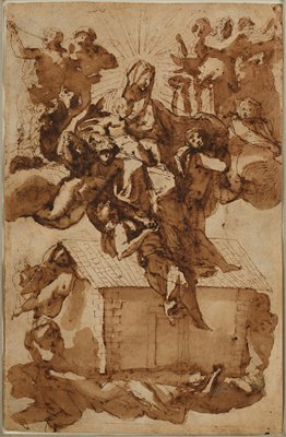 recto: Mary with Christ child reclining on her lap, surrounded by draperies, ascending at center top, accompanied by nude male angels, with standing angels in top corners; angel in ULC plays a pipe; house-like structure at bottom center being lifted aloft by other angels on left and right sides and beneath structure; sketchy style; verso: Mary with Christ child standing on her lap being carried aloft by a group of angels beneath and behind her, with three musical angels in ULC, playing a lute, a drum and a pipe