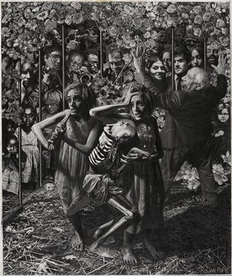 two desperate-looking young women wearing embroidered summer dresses accompanying a severely-emaciated figure in foreground; adults and children, including a group of musicians at left, emerging from behind a wall of flowers and vertical metal bars; smiling balding man from seen from back with head turned toward PL and upraised arms at right; some lines impressed in paper, giving an embossed effect
