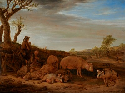 two men at left--one standing man wearing a hat holding a staff, looking down to PR, and seated gesturing man with short beard; small group of pigs of various colors and sizes to right of men at center bottom; figure and dog in middle ground at right; two horse pulling a covered wagon right of center in middle ground; expansive landscape behind figures with clouds in sky