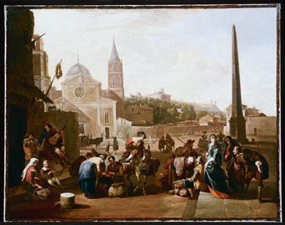 Genre scene. The Piazza del Popolo