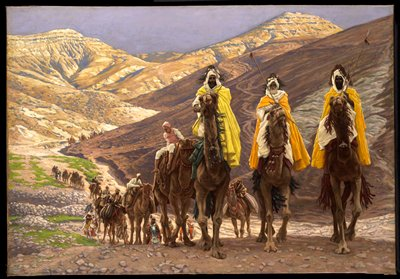 New Testament; three men (Magi) crossing the mountains on a dusty road on camels; camels behind them.