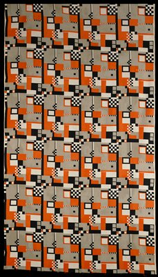 grey, orange and black printed geometric design of squares and bars on white; 2 selvedge edges