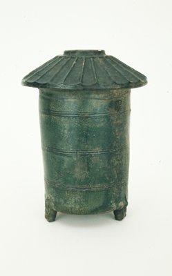 Grain Tower Model, funerary; dark green glazed ceramic