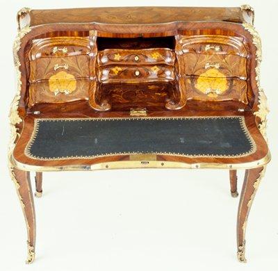 Bureau de Dame, Jean Gaspard Feilt, kingwood, oak, marquetry, gilded bronze mounts, French XVIII listed on cat. card as Louis XV Lady's Writ- ing Desk; Dims 38-1/4 x 41-1/2 x 23-1/2'; 6/88: a-desk; b-j-drawers; k-l lower drawers; key