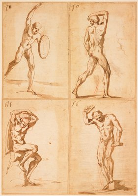 4 small sheets, each with one figure, mounted together on a larger sheet; each study numbered (L to R): 70, 50, 111, 56; #70 (ULC): nude male with PR arm upraised, PL hand holding shield, weight on PL leg, PR leg extended back off the ground; #50 (URC): nude male from back, striding, looking back, with PR arm over head; #111 (LLC): seated nude with both hands on head; #56 (LRC): standing nude with PL foot on block, PR arm raised, looking down, holding an object in each hand