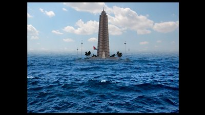 tall tower with a statue in front of it seen beyond choppy water; clouds moving in sky; sounds of waves; DVD in case and CompactFlash drive master copy included; certificate of authenticity included