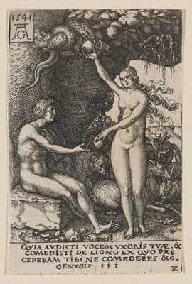 Adam seated at L below tree; Eve at R reaching up to receive a piece of fruit from a snake in a tree; with her opposite hand, Eve is handing another fruit to Adam; animals resting in background behind Eve