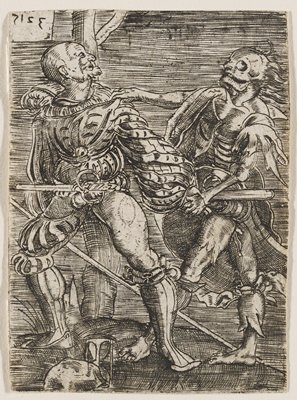 male figure swooning against a tree, looking dramatically to his R at a grotesque, decaying figure with skull-like face and long hair who pulls at his arm; hourglass at figure's feet