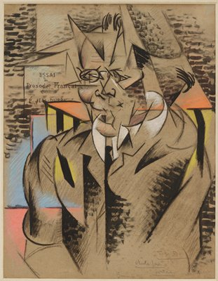 Cubist image; deconstructed face with round glasses; white collar; black necktie; balding head; short, thick horizontal black lines at top and on clothing in several areas; orange triangles on either side of face; light blue areas at left; pink areas in LLQ; some yellow vertical areas on shoulders; text in French on left of face; grey paper
