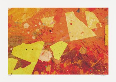 abstract image; multicolored pigments overlap- red, orange swirling splatters under yellow washed out geometric shapes with roughened edges