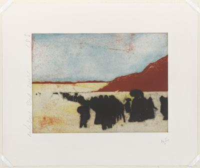 abstracted image of silhouettes of figures in black against yellow in foreground; rust colored hills; blue sky