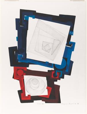 concentric light gray squares upper half within blue frame with interlocking circles and angles; concentric light gray circles lower, within similar red frame