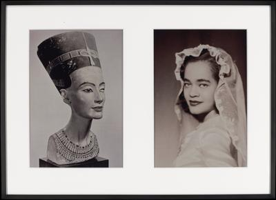 two black and white photographs matted and framed together; a (left) = ancient Egyptian polychrome sculpted portrait of a woman wearing a headdress and a wide necklace, turned slightly to her PL; b (right) = portrait of a woman with shoulder-length dark hair wearing a bridal veil and pearls, looking toward her PL