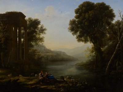 two goat herders seated on the left bank of a river amidst their flock; classical ruins at left side and background left center on hillside; across river stand two pair of deer under the shadow of a large tree
