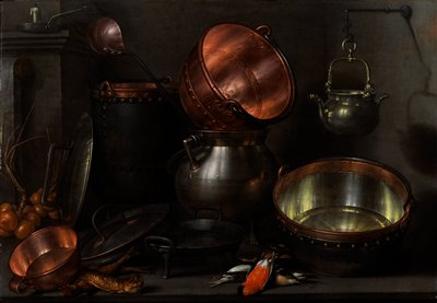 shiny copper and silver metal pots and pans; candlestick in ULC; bunch of onions and 2 fish, LLQ; 5 small birds, LRQ