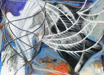 abstract image; black and white curving lines over purple, orange, blue, black and white sketchy areas of color