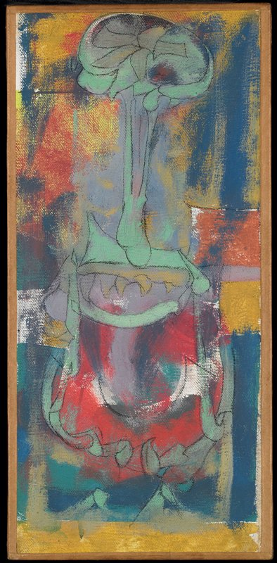 abstract image with blue, white, yellow, red and orange sketchy ground; green animal-like image with open mouth-like element at bottom