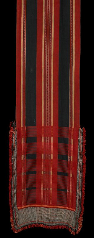 long panel; red, black, cream and grey stripe design, with red stitching forming plaids at ends; heavy silver metal beads at ends, with red fringe
