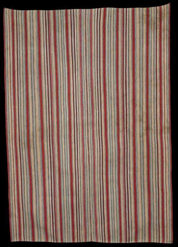 two panels sewn together; white, light tan, light blue, indigo and red stripes