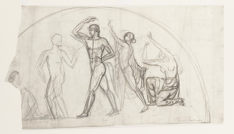 rough sketch in half-circle shape of seated, kneeling and standing women and two standing men; male figures are nude-female figures wear various draperies