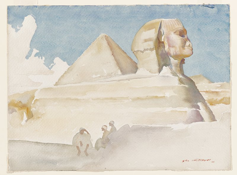the Sphinx, seen from PR side, with pyramid behind; three seated figures at front center; blue sky