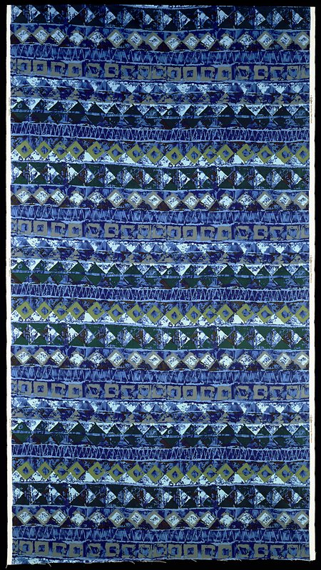 4-1/2 repeats; geometrical patterns triangles, squares; dark and light blues, greens, beige, black and brown