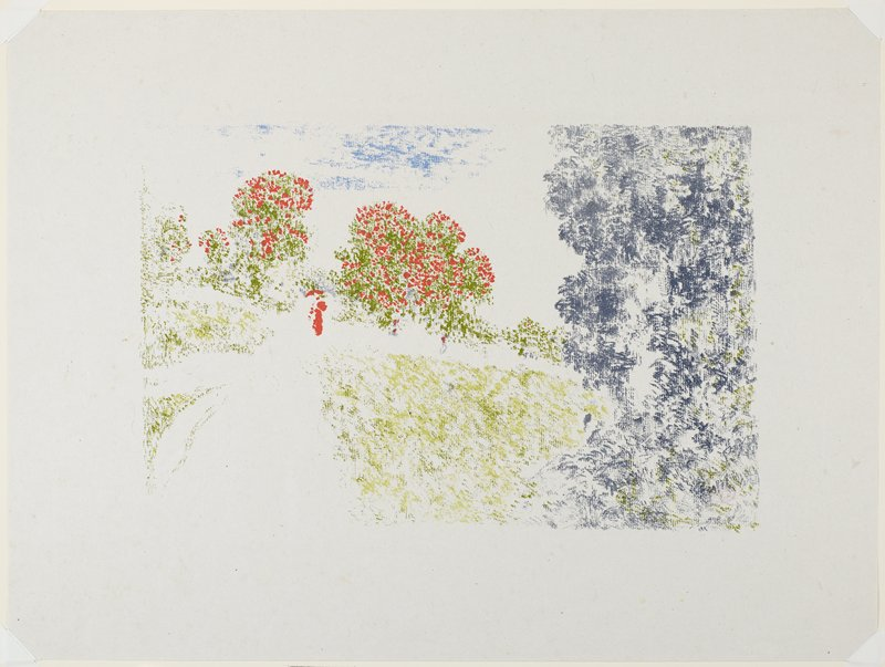 sketchy image in red, green and purple; sketchy figure in red at L center; purple and green foliage at R; trees with red flowers or fruits behind figure
