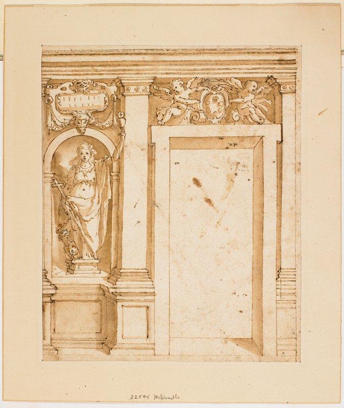 doorway with two putti and coat-of-arms above; figural sculpture and pillar L of doorway