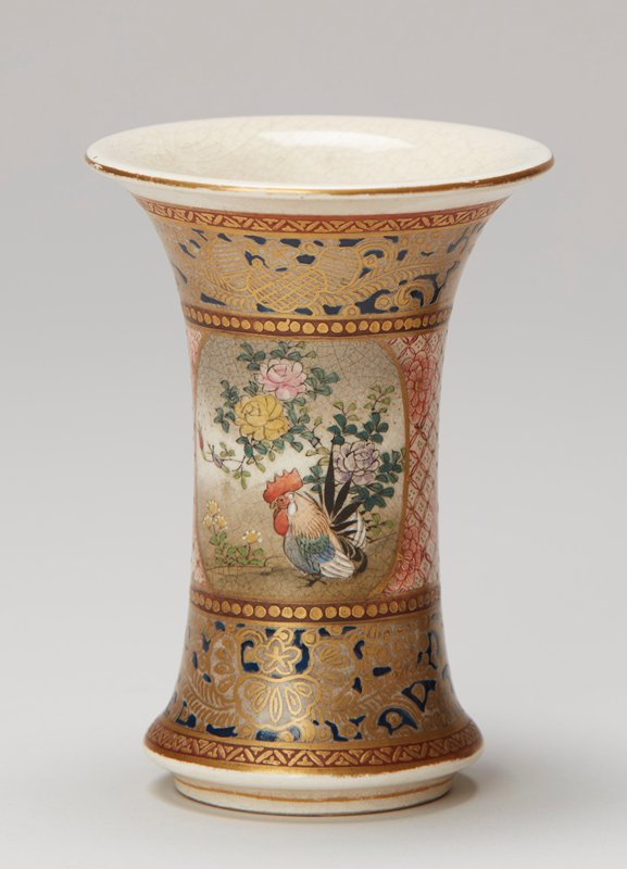 beaker shaped; enamel and gold; blue and gold filigree bands at top and bottom; central band has two cartouches: one with rooster and flowers, other has temple; bright enamel colors