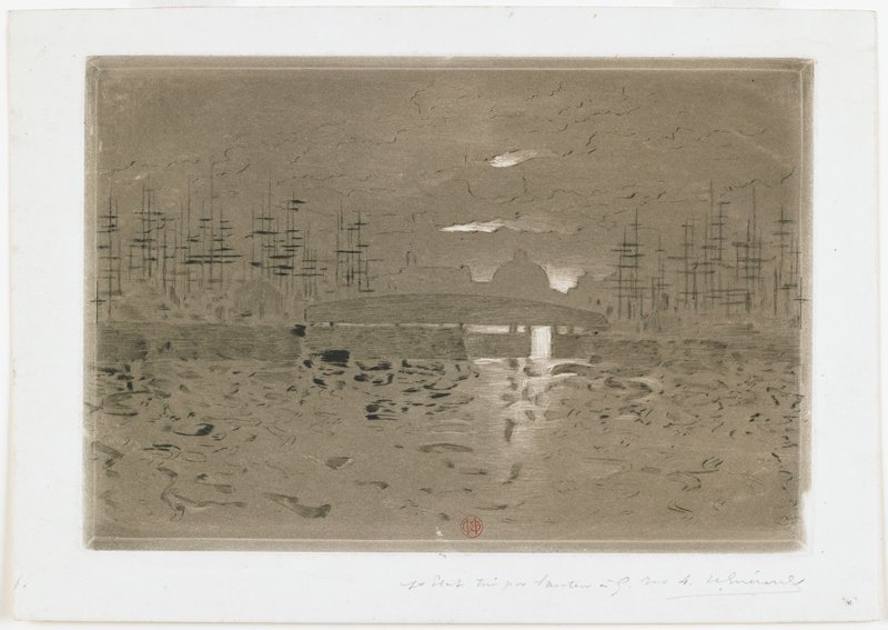 sketchy image; gray ground; skyline with dome at center; boat masts (?) at left and right; bridge or barge at center; white highlights
