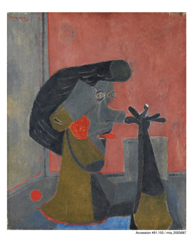 head of man in Cubist style, sticking out his tongue and thumbing his nose; red, pink, greys, black, olive, blue
