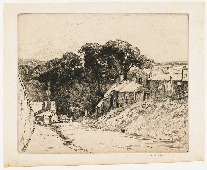 lane with several buildings on right; laundry on line; women in doorway; part of windmill and country side in distance; wall on left; building at end of wall; sign on building: ARUNDEL
