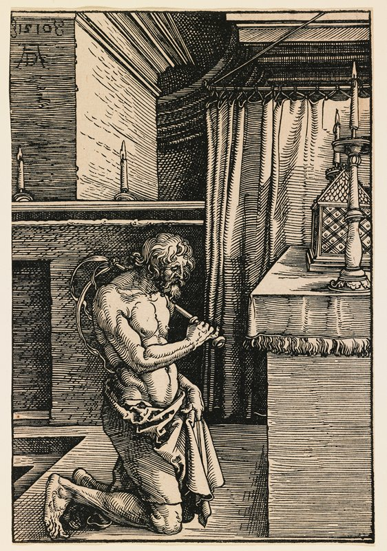 kneeling man with long wavy hair and beard, holding drapery around his lower torso and thighs with his PL hand, and flogging himself on the back with a whip in his in PR hand; altar with candles at right