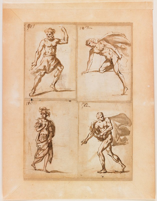 four small sheets, each with one figure, mounted together on a larger sheet: each study numbered (left to right): 301 (?), 102, 100, 302 (?); #301 (ULC): male with heavy beard wearing a skirt, leaning on PL leg with bent knee, PL arm up with elbow bent; #102 (URC): nude male wearing a flowing cape, leaning PR knee on an invisible support; #100 (LLC): standing woman wearing a helmet and a log dress with a shield on her PL upper arm; #302 (LRC): striding man wearing loop of flowing fabric, body twisted to PL with PR arm extended downward