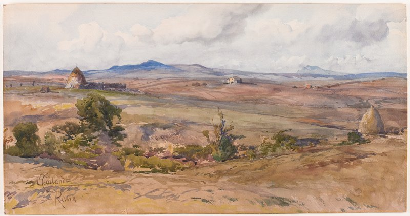 expansive landscape with rather flat, nearly treeless land; small mountains in background; some foliage in foreground; small building near center; 2 large cone-shaped mounds (haystacks?) at L and R