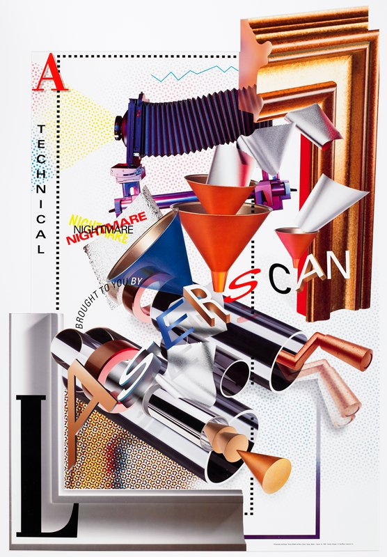 Surrealist image with text of various styles and type fonts; old-fashioned camera at top; orange and blue funnels; chrome tubes in impossible perspectives; frame elements at LLC and URC