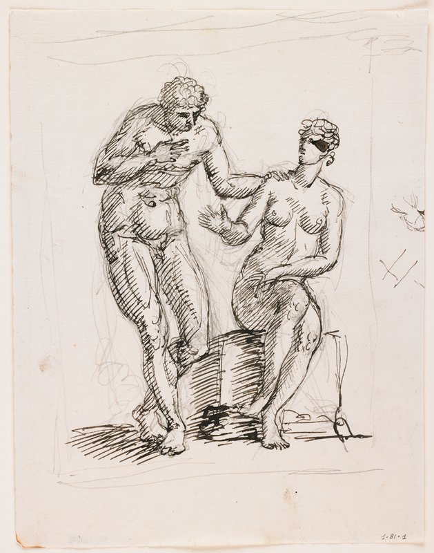 standing male nude with short curly hair at L, slightly bending at waist, with PR hand on chest and PL hand on shoulder of seated nude women with PL arm across lap