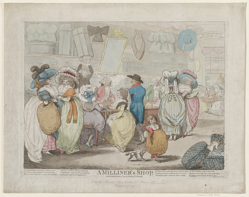 Caricature of George III, Queen Charlotte, and their children shopping.